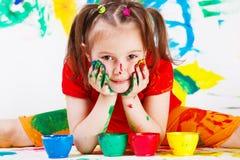 Face e mãos pintadas Imagens de Stock