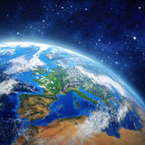 Face of the Earth. Imaginary view of planet earth in outer space. Elements of this image furnished by NASA Royalty Free Stock Image