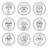 Face of elder people icons. Pensioner head collection. In circle. Unique line style vector royalty free illustration