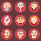 Face of elder people icons set in flat style. Pensioner head collection. Isolated avatar in circle royalty free illustration