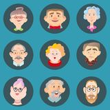 Face of elder people icons set in flat style. Pensioner head collection. Isolated avatar in circle stock illustration