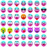 Face emotions. Facial expression. Vector illustration.Pink and blue smileys 2018. Funny cartoon character.emoticons set. Mood. Web icon stock illustration