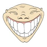 Face engraçada grotesco dos desenhos animados com sorriso toothy grande ilustração stock