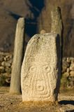 Face Engraved stone or Menhir. Engraved stone in Tucuman, North west Argentina stock images