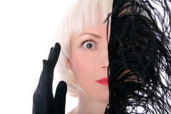 Face escondendo da mulher encantadora Fotografia de Stock Royalty Free