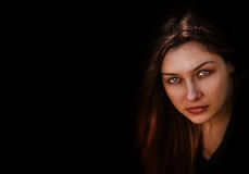 Face of evil dark spooky woman. Face of evil dark spooky one woman stock photography
