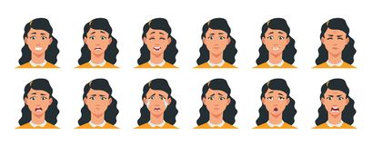 Free Face Expression. Cartoon Girl Character With Sad Happy Angry Surprised Emotion. Vector Woman Avatar Constructor With Royalty Free Stock Images - 159703779