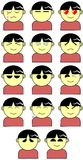 Set of stylized children with differente Face expressions Stock Photography