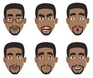 Face expressions of African American man. Different male emotions set. Handsome cartoon character. Vector illustration isolated on white background vector illustration