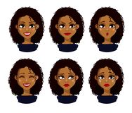 African American business woman cartoon character. Face expressions of African American woman with dark hair. Different female emotions set. Attractive cartoon Royalty Free Stock Photo