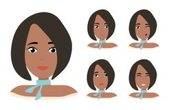 Face expressions of African American woman with dark hair. Different female emotions set. Attractive cartoon character vector illustration