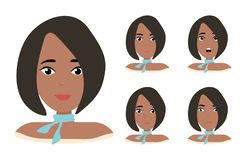 Different female emotions set. Attractive cartoon character. Vector illustration isolated on white background vector illustration
