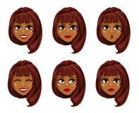 African American business woman cartoon character. Face expressions of African American woman with fashionable hairstyle. Different female emotions set Royalty Free Stock Image