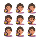 Face expressions of American woman with dark hair with flowers vector illustration