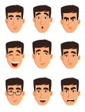 Face expressions of a business man. Different male emotions set. Handsome cartoon character. Vector illustration isolated on white background vector illustration