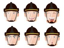 Face expressions of firefighter in safe helmet. Set of different emotions. Handsome cartoon character fireman. Vector illustration isolated on white background Stock Photos