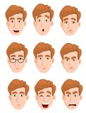 Face expressions of a man with blond hair. Different male emotions set. Attractive cartoon character. Vector illustration isolated on white background Stock Photo