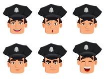 Face expressions of police officer, policeman. Set of different emotions. Handsome cartoon character cop. Vector illustration isolated on white background Royalty Free Stock Image