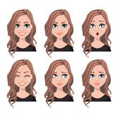 Face expressions of realtor woman. With brown hair. Different female emotions set. Beautiful cartoon character. Vector illustration isolated on white background Stock Illustration