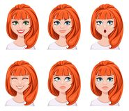 Face expressions of a redhead woman. Different female emotions,. Set. Attractive cartoon character. Vector illustration  on white background Royalty Free Stock Photography