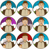 Face expressions-villager. Collection of nine different nine face  expressions - villager Stock Photos