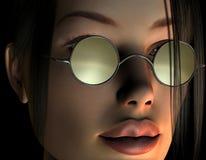 Face fêmea com vidros Imagem de Stock Royalty Free