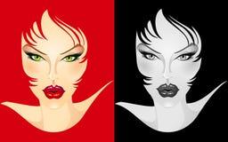 Face fêmea ilustrada Ilustração Stock