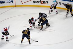 Face à face de hockey sur glace de NHL Images libres de droits