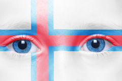 face with faroe islands flag Stock Images