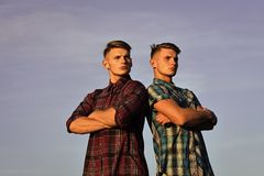 Face fashion boy or Man in your web site. Man face portrait in your advertisnent. Sexy athletic young men twins brother Stock Images