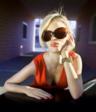 Face of fashionable blonde Stock Images
