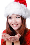 Face feliz do sorriso da menina do Natal Imagem de Stock Royalty Free