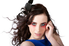 Face Of A Female Beauty With Red Eye Make Up Royalty Free Stock Image