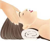 Face female Massage in spa. Vector illustration royalty free illustration