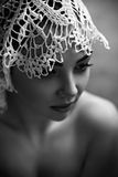 Face Of A Female Model In Lace Hat Stock Photo