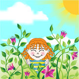 Face in a field of flowers Royalty Free Stock Photography