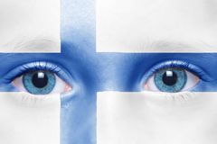 Face with finnish flag. Child`s face with finnish flag Stock Image