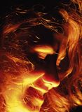 Face in fire. Face in night light Stock Images