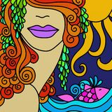 Face and fish. Abstract illustration with woman's face and fish Royalty Free Stock Photos