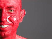 Face flag Turkey smiling man stock images