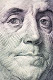 The face of Franklin the dollar bill macro Royalty Free Stock Images