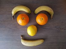 Face of fruit, eyebrows eyes nose mouth Royalty Free Stock Photos