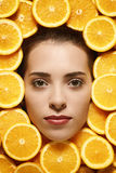 Face in fruits e Stock Image