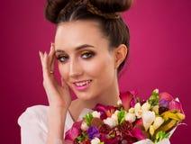 Face, fun, fruit bouquet, pink royalty free stock photos