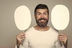 face funny Άτομο με τη μακριά γενειάδα και mustache Στοκ Φωτογραφία