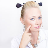 Face of a funny hair and make-up model Stock Image
