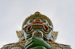 Face of the giant. Temple of the Emerald Buddha (Wat Phra Kaew), Bangkok, Thailand Stock Image