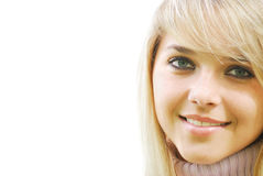 Face of the girl. Face of the blonde young woman isolated  on a white background Stock Photos