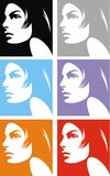 Face of girl in different colors Royalty Free Stock Image