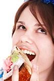 Face of girl eating cake. Royalty Free Stock Images